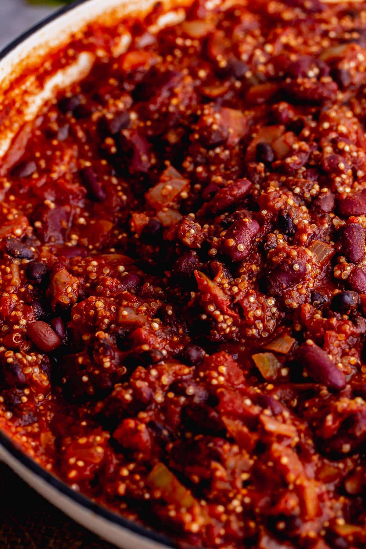 Close up of quinoa chilli