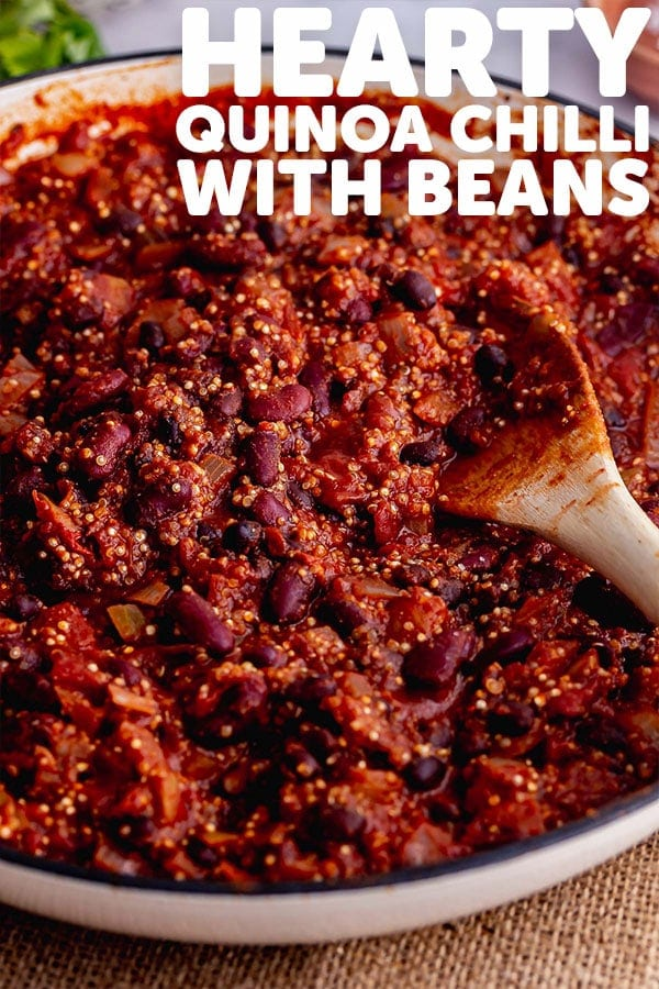 Pinterest image of quinoa chilli with text overlay