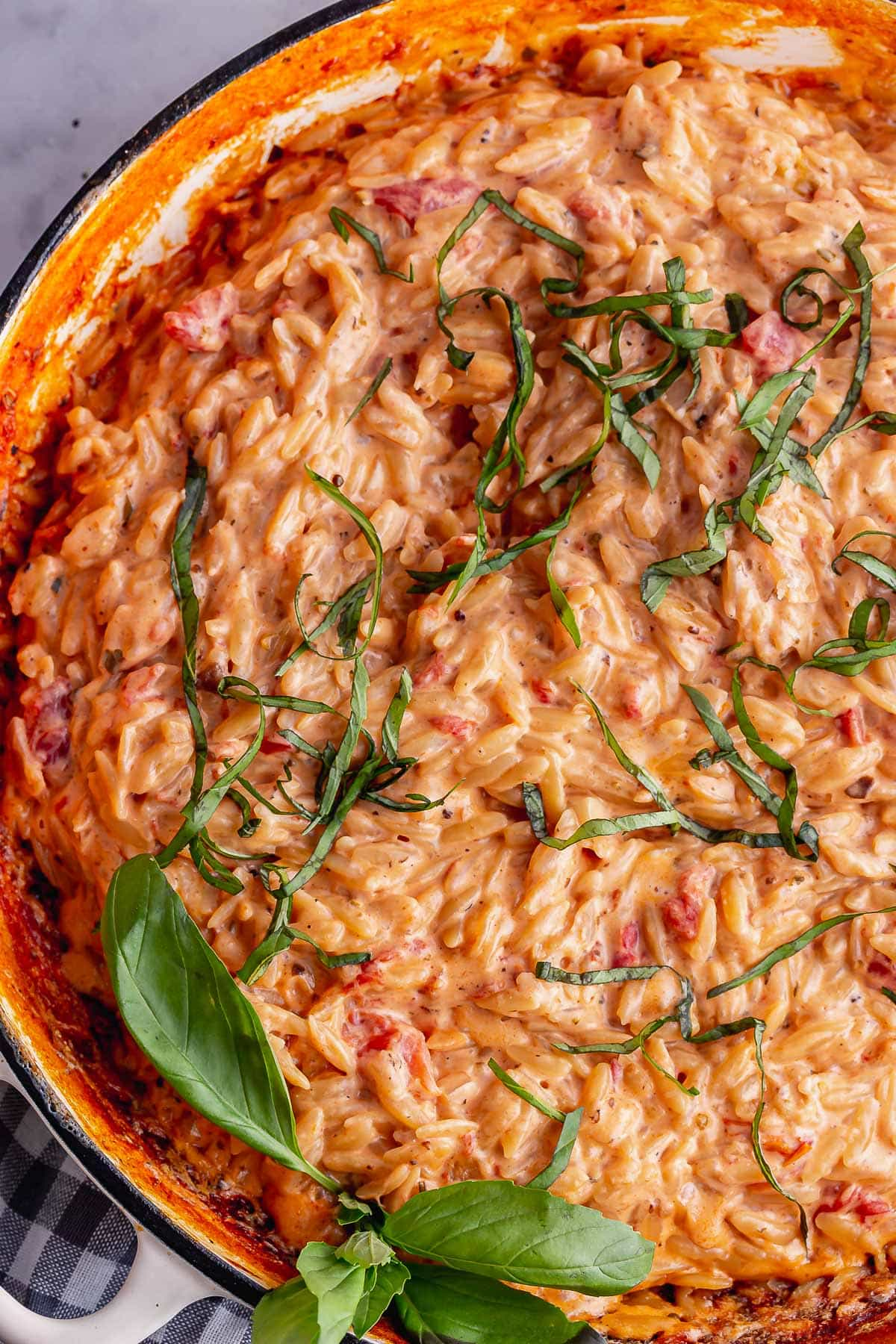 Overhead close up of orzotto with basil