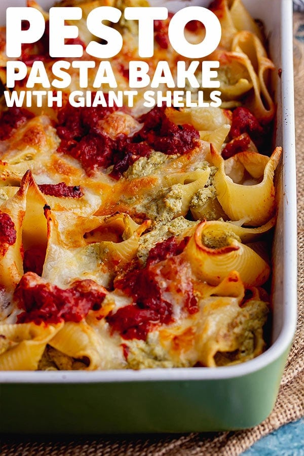 Pinterest image for pesto pasta bake with text overlay