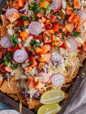 Close up of nacho toppings