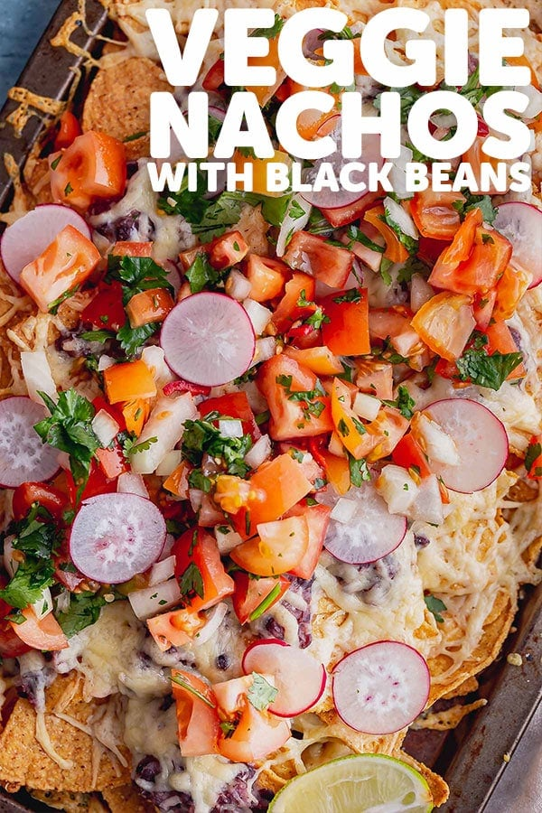 Pinterest image for veggie nachos with text overlay