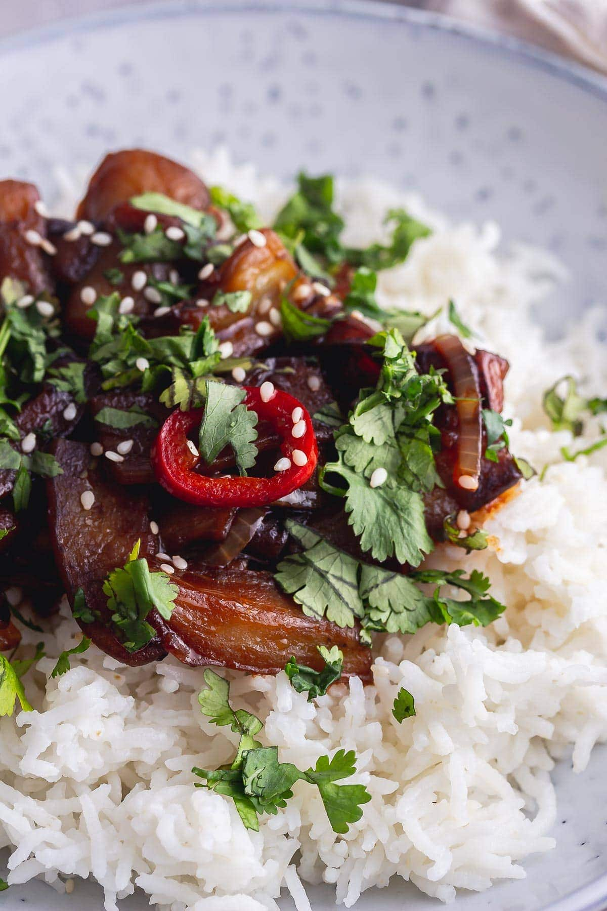Close up of stir fried aubergine on rice with chilli and coriander