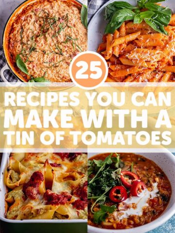 Pinterest image for tinned tomato recipes with four photos