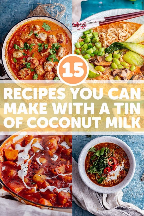 Pin for coconut milk recipes with text overlay