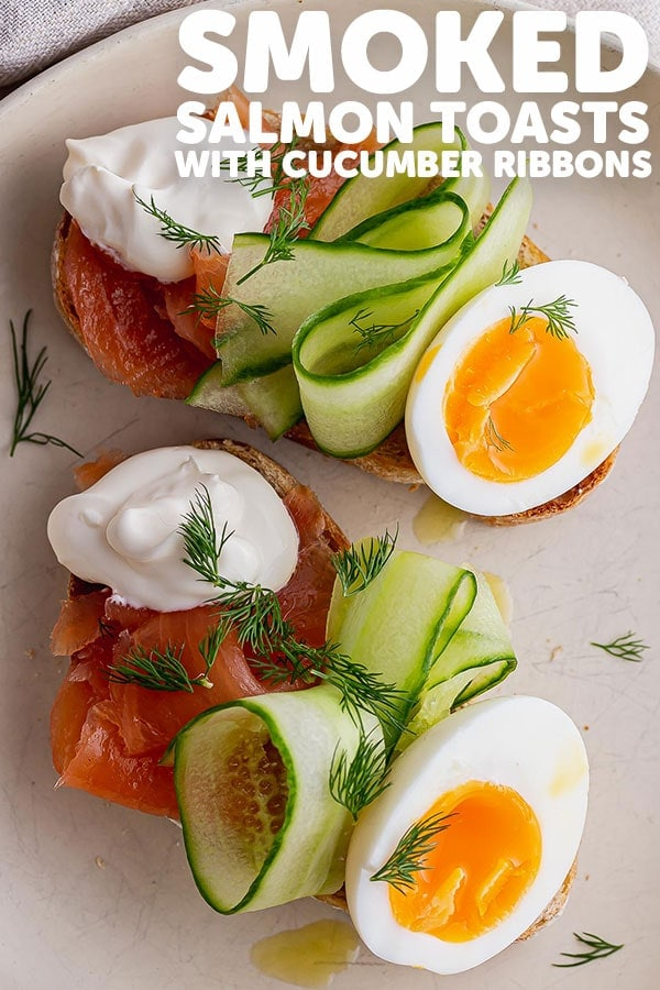 Pinterest image for smoked salmon toasts with text overlay