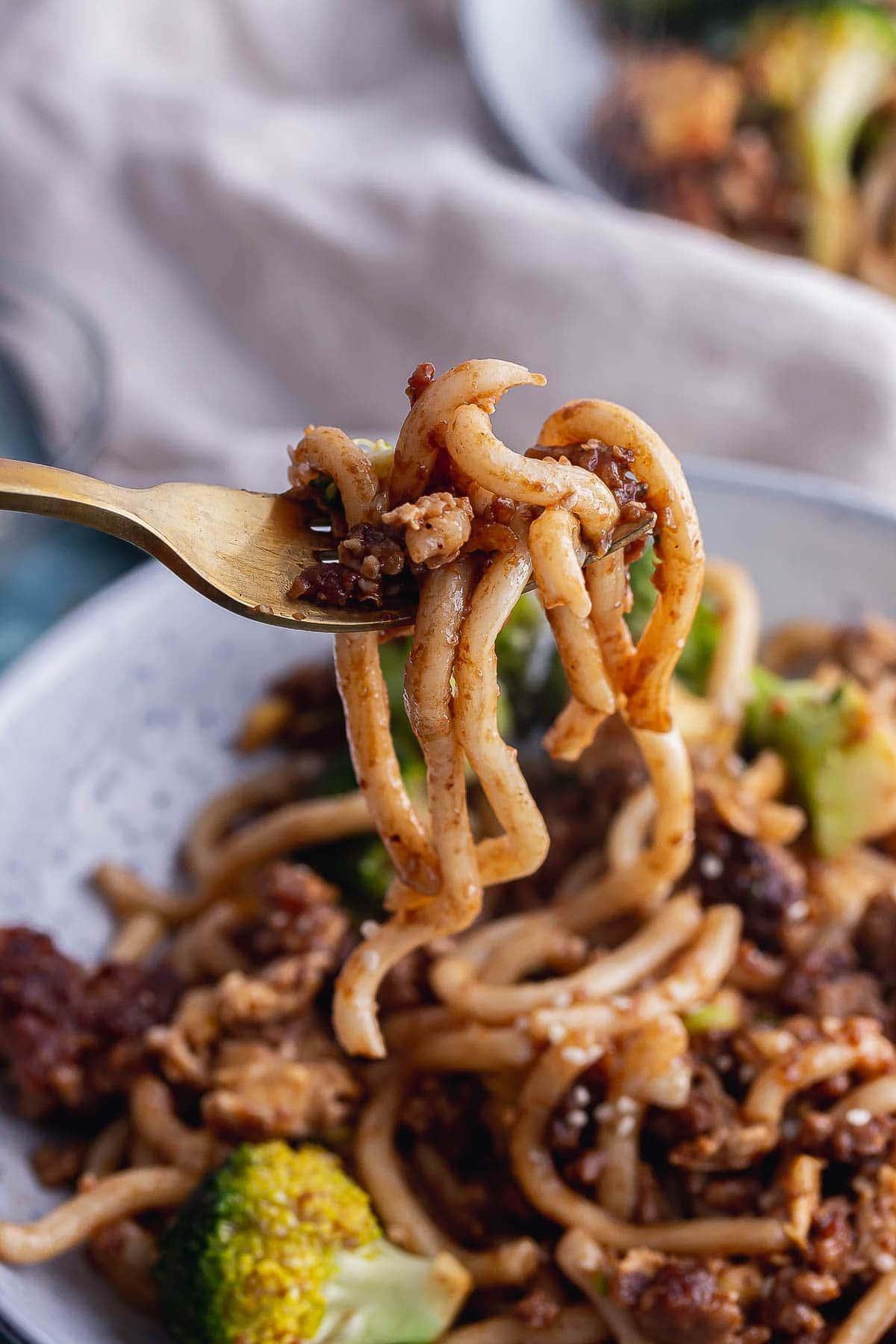 Bowl of egg fried noodles with a gold fork holding noodles