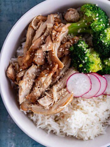 Overhead shot of shredded chicken on rice