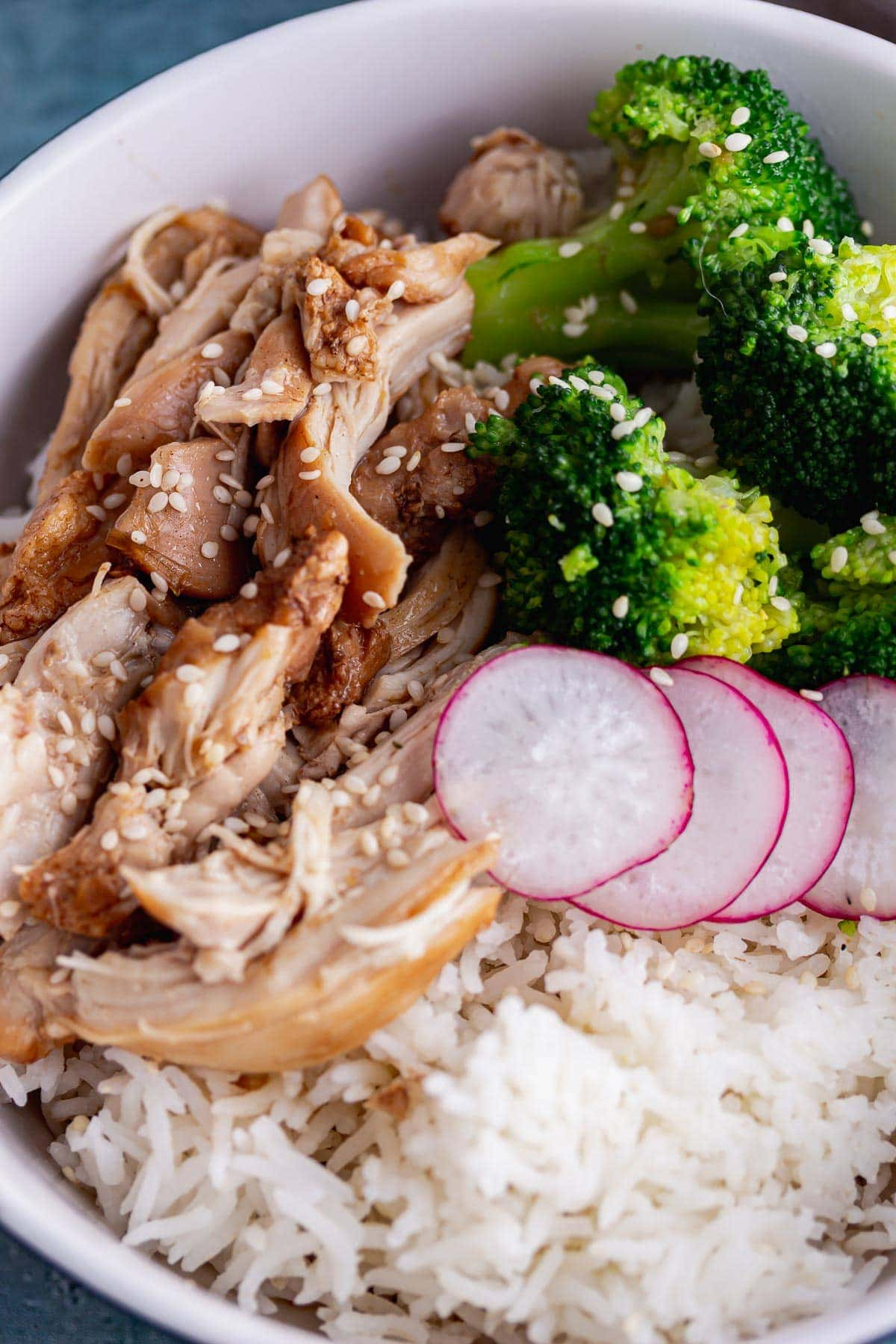 Close up of chicken and broccoli with rice