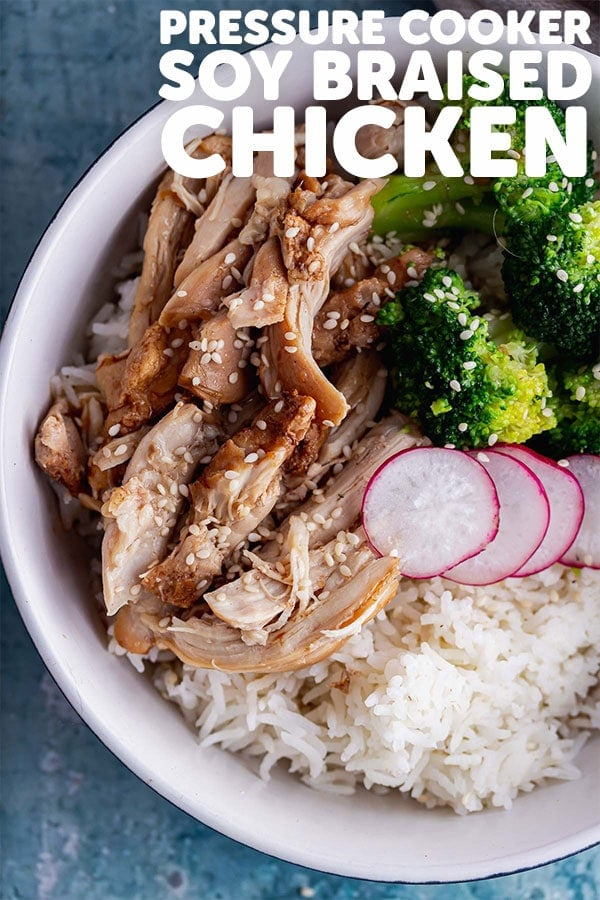 Pinterest image for soy braised chicken with text overlay
