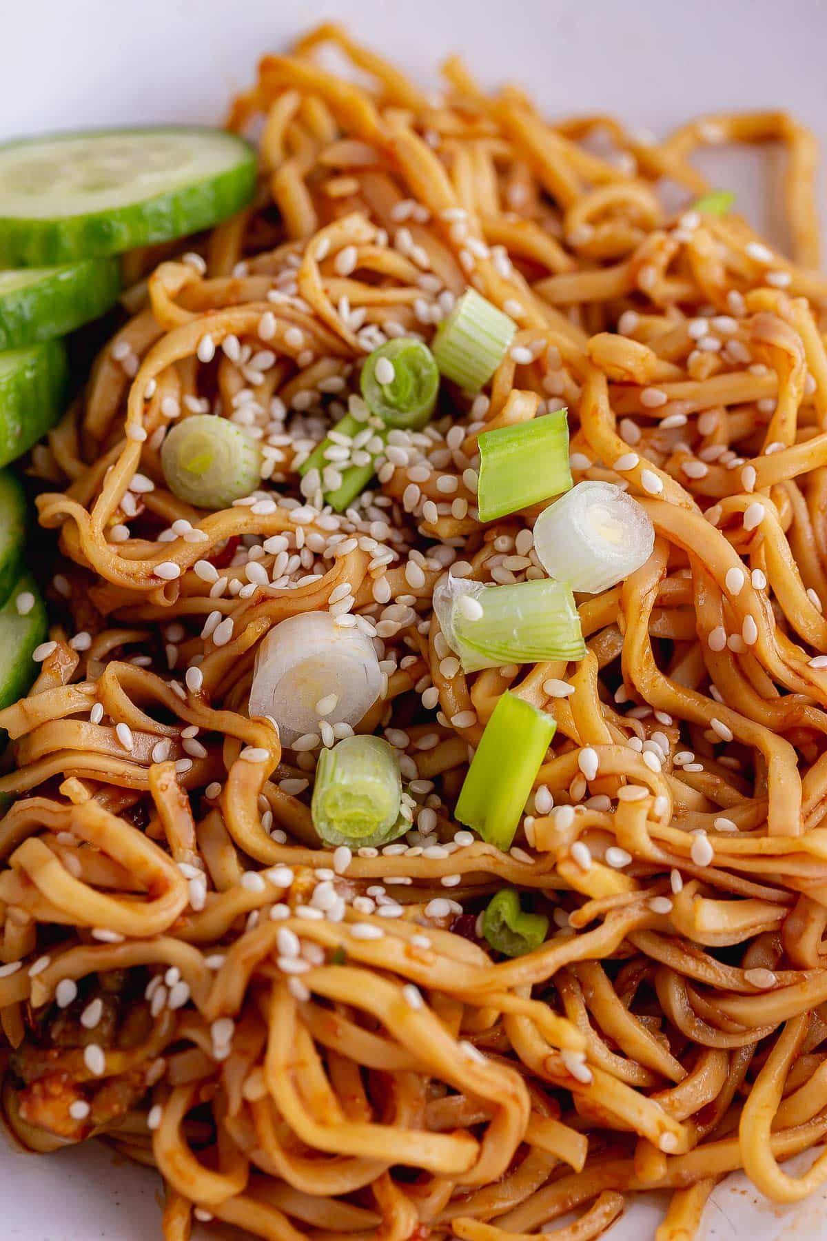 Close up of cold noodles with spring onion and sesame seeds