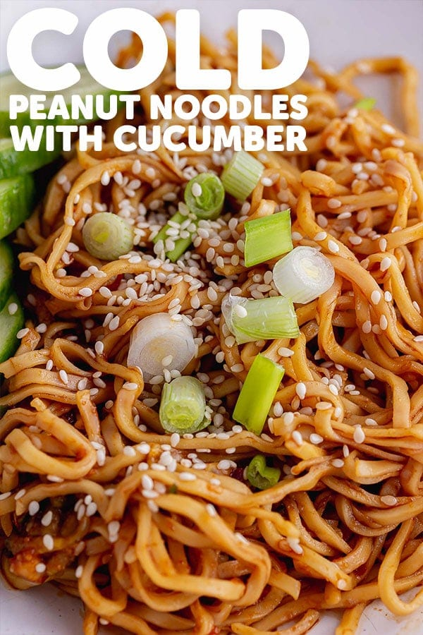 Pinterest image for cold peanut noodles with text overlay