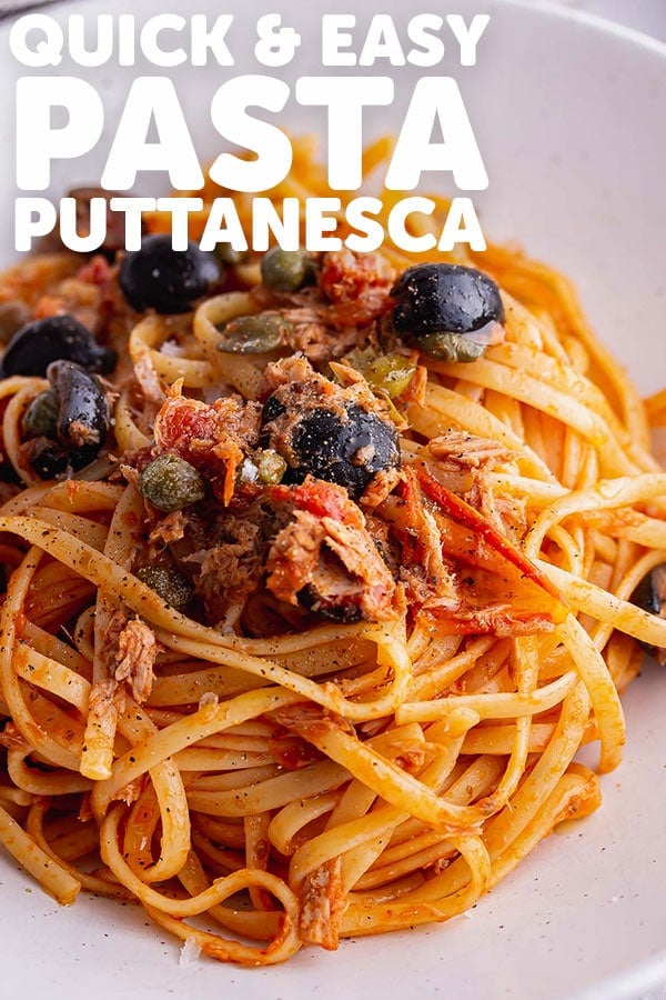 Pinterest image for pasta puttanesca with text overlay