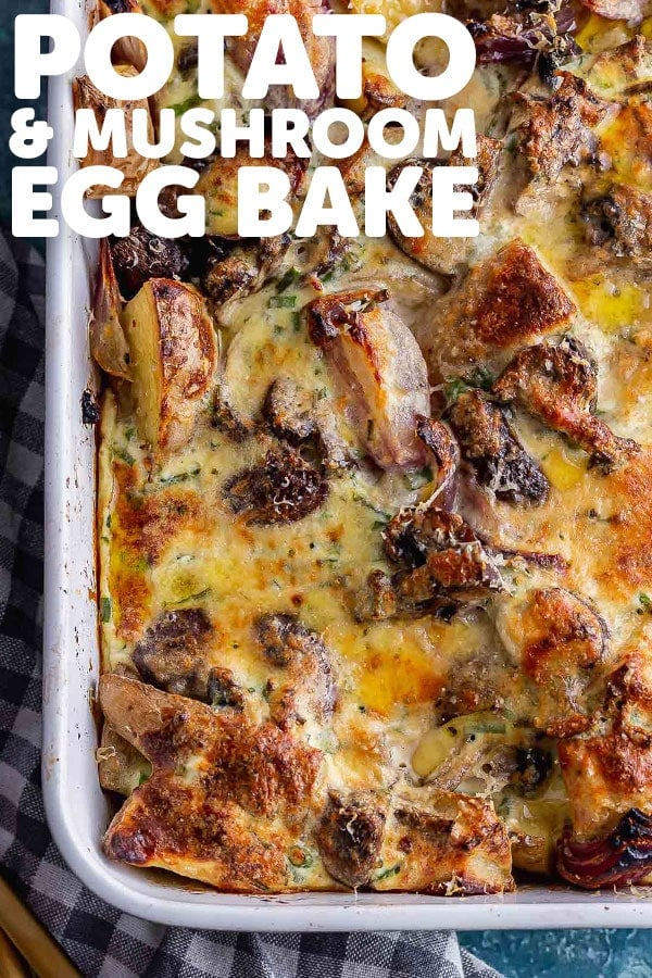 Pinterest image for potato and mushroom egg bake with text overlay