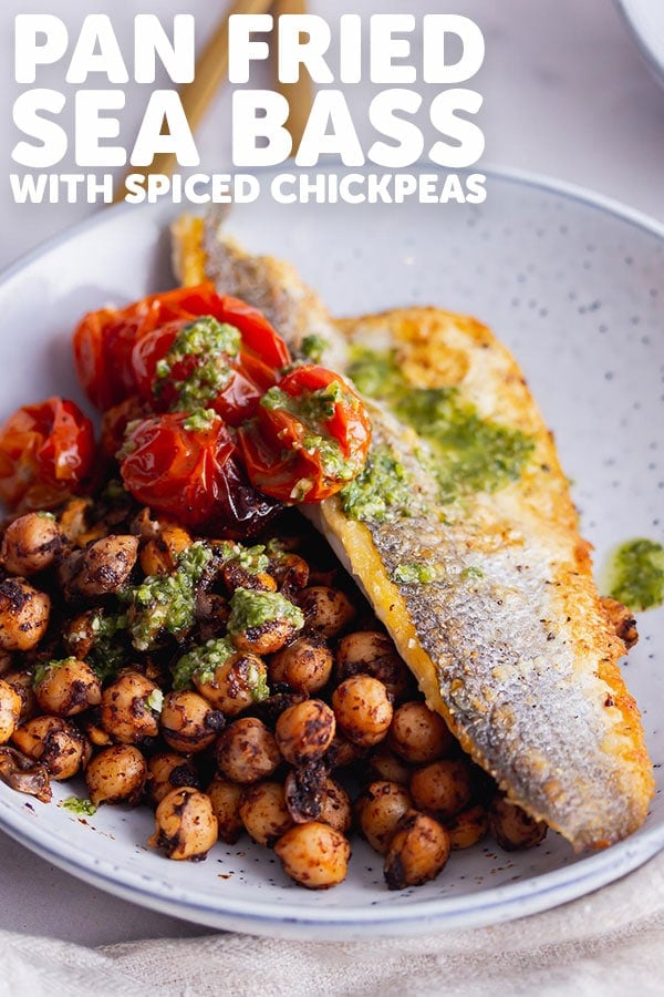 Pinterest image for pan fried sea bass with text overlay