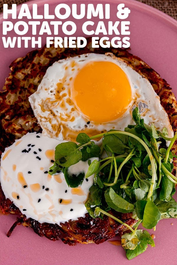 Pinterest image for halloumi potato cake with text overlay