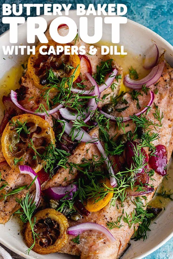 Pinterest image of buttery baked trout with text overlay