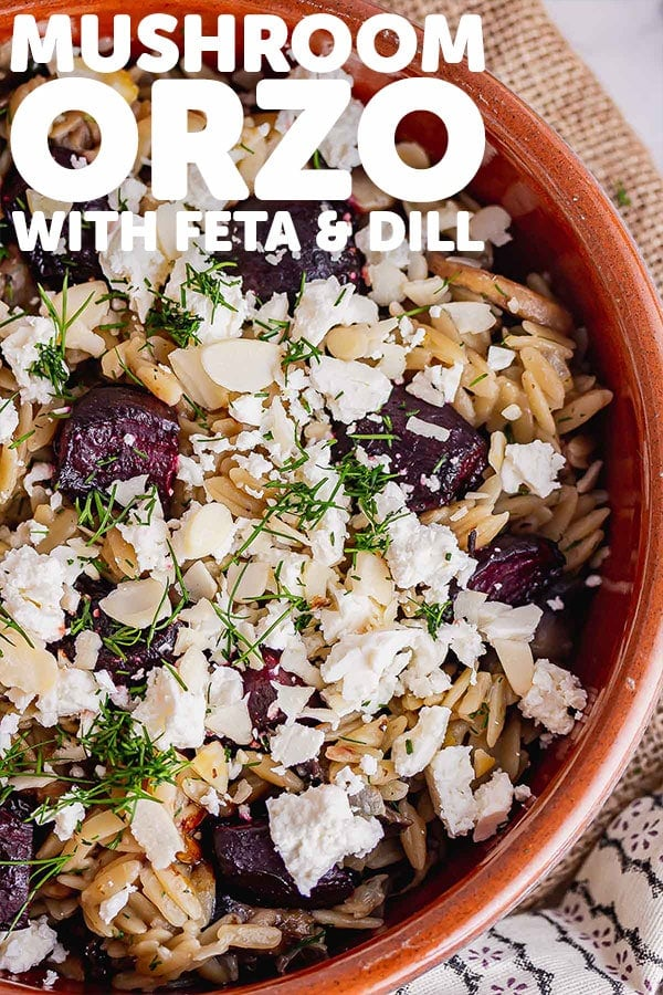 Pinterest image of mushroom orzo with text overlay