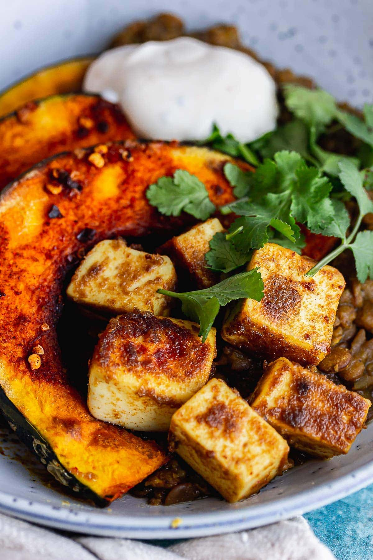 Close up of spiced paneer with squash
