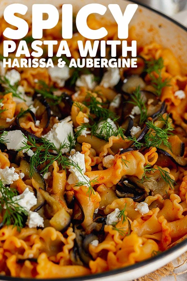 Pinterest image of spicy pasta with text overlay