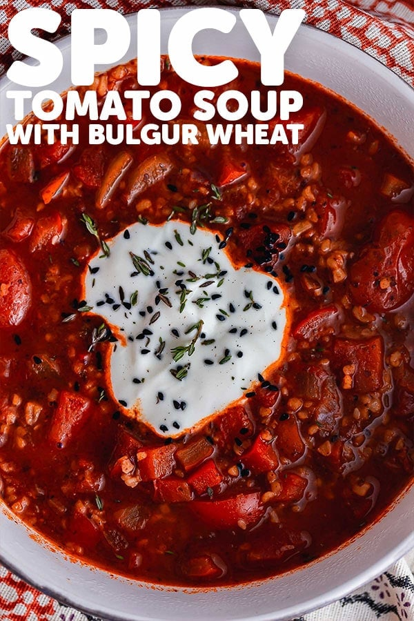 Pinterest image of spicy tomato soup with text overlay