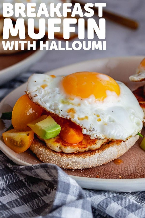 Pinterest image of breakfast muffin with text overlay