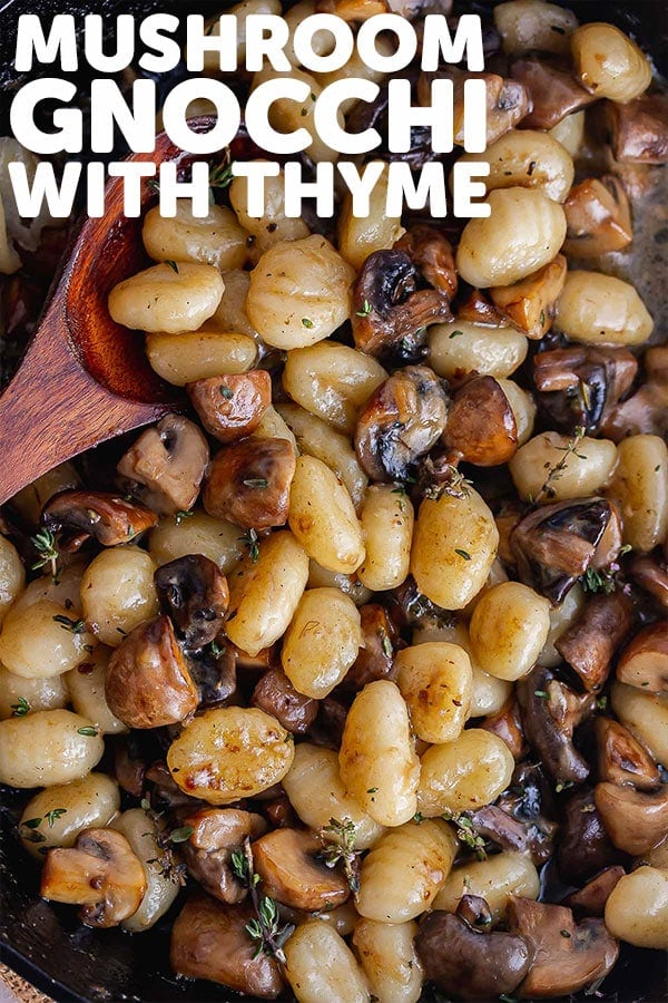 Pinterest image for mushroom gnocchi with text overlay