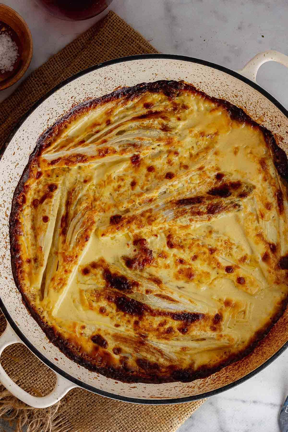 Overhead shot of chicory gratin