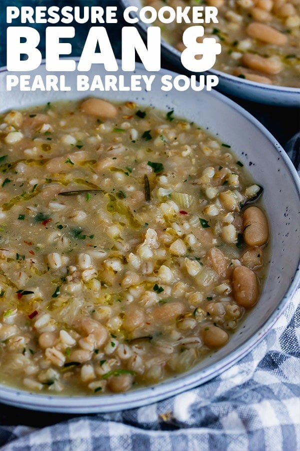 Pinterest image for bean and pearl barley soup with text overlay