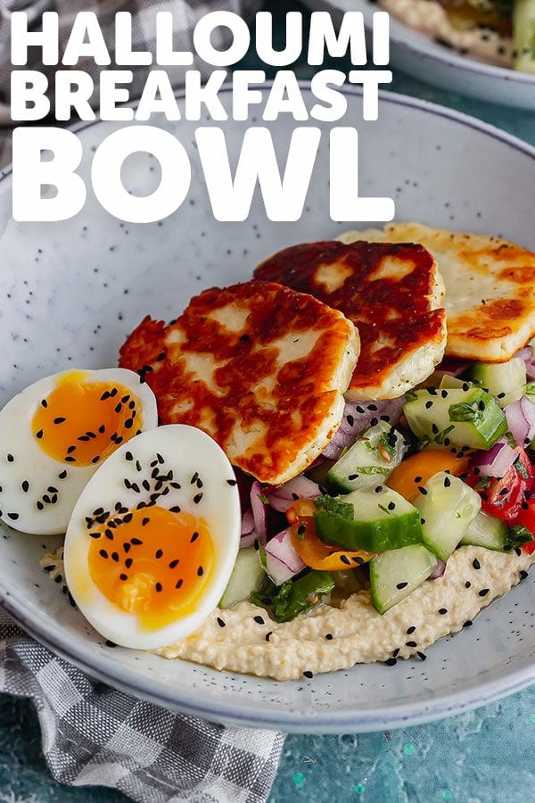 Pinterest image of halloumi breakfast bowl with text overlay