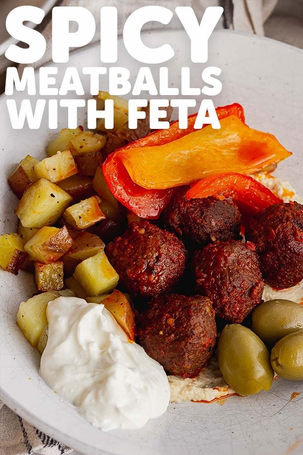 Pinterest image of spicy meatballs with text overlay