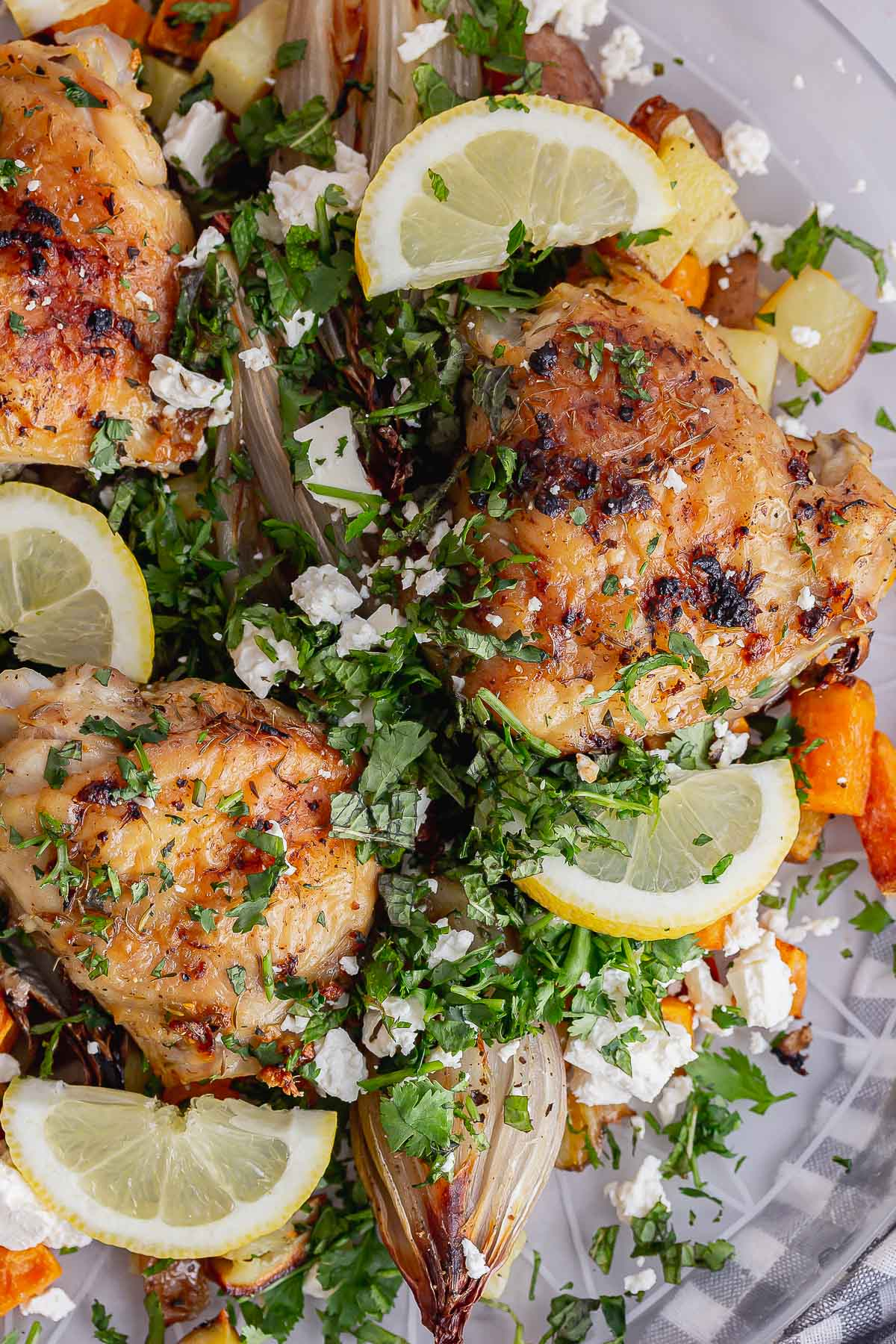 Overhead shot of chicken with lemon slices