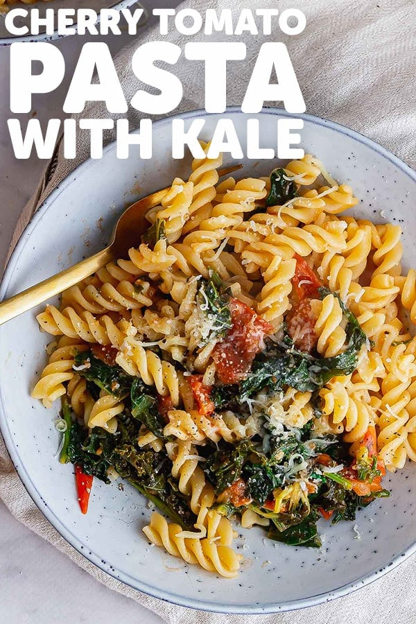 Pinterest image for cherry tomato pasta with text overlay